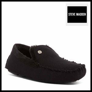 STEVE MADDEN BLACK MOCCASIN SLIPPERS SLIP ONS